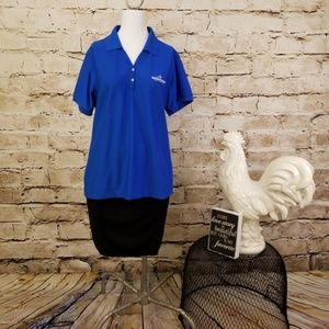 Divots M Top Blue Golf Fitted Polo QL Shirt Preppy